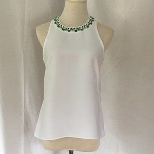 Loft Jeweled Collar Sleeveless Blouse White Size S
